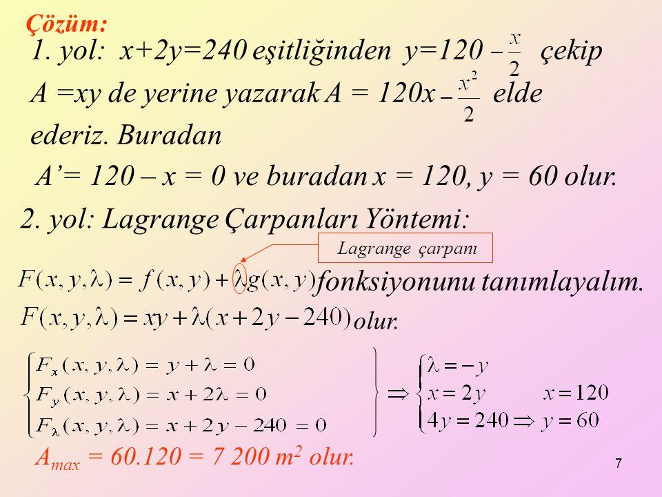 A'= 120 – x = 0 ve buradan x = 120, y = 60 olur.