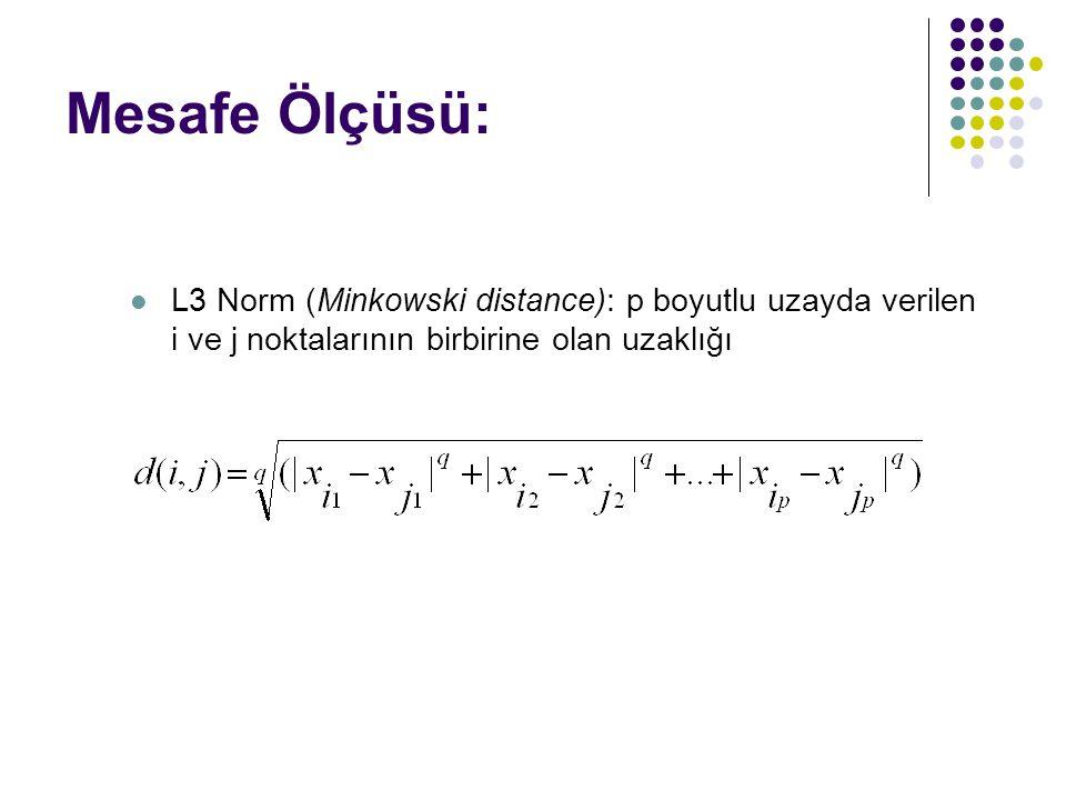 Mesafe Ölçüsü: L3 Norm (Minkowski distance): p boyutlu uzayda verilen i ve j noktalarının birbirine olan uzaklığı.