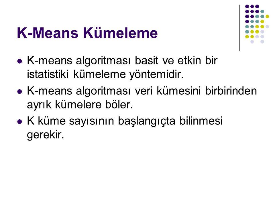 K-Means Kümeleme K-means algoritması basit ve etkin bir istatistiki kümeleme yöntemidir.