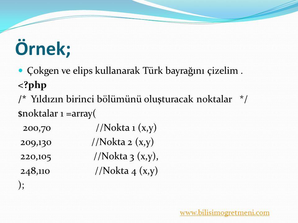 Örnek; Çokgen ve elips kullanarak Türk bayrağını çizelim . < php
