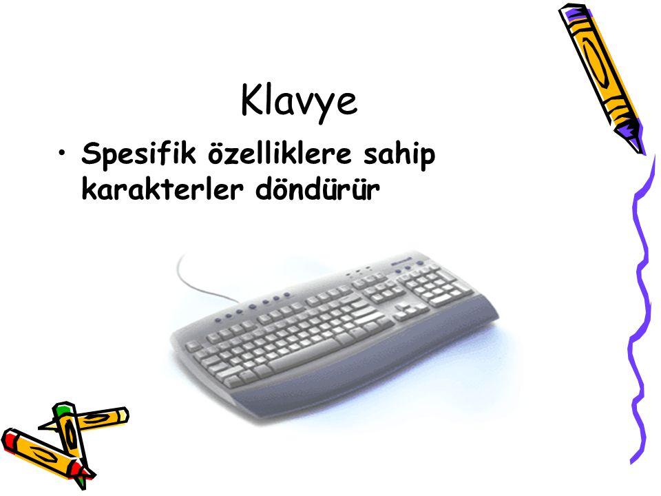 Klavye Spesifik özelliklere sahip karakterler döndürür