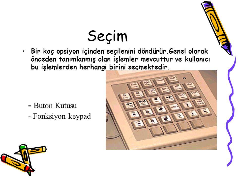 Seçim - Buton Kutusu - Fonksiyon keypad