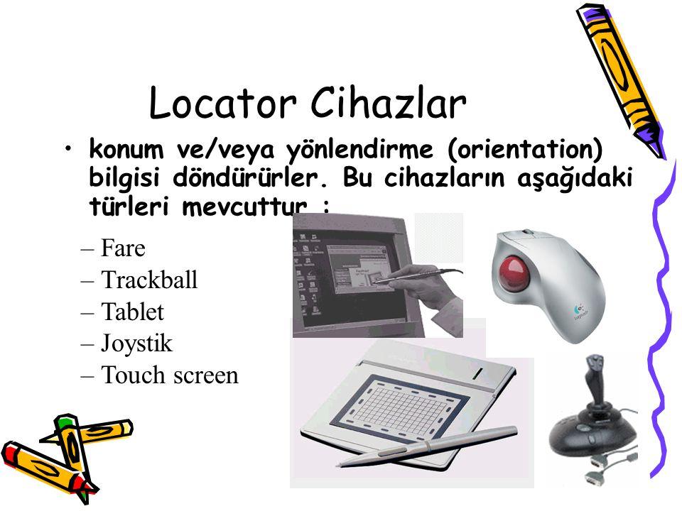 Locator Cihazlar konum ve/veya yönlendirme (orientation) bilgisi döndürürler. Bu cihazların aşağıdaki türleri mevcuttur :