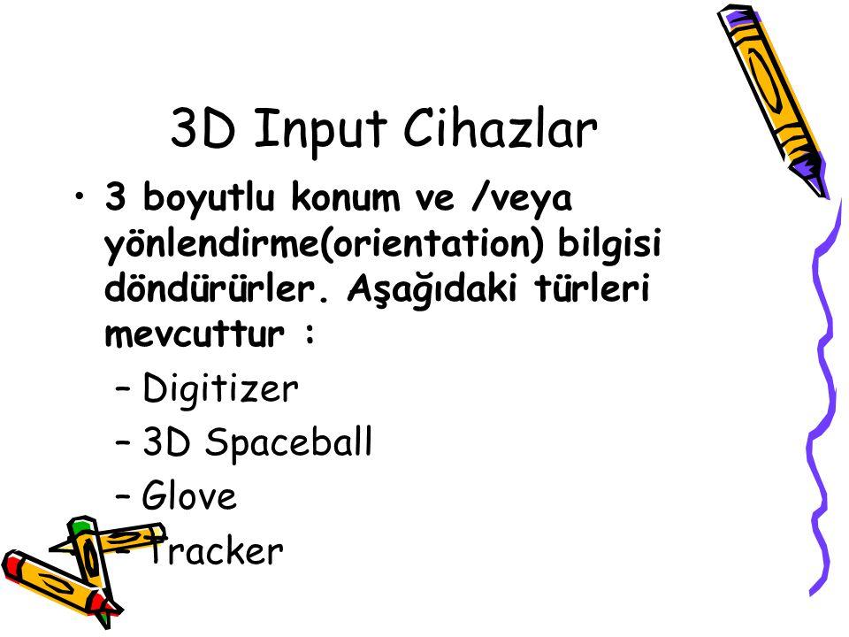 3D Input Cihazlar 3 boyutlu konum ve /veya yönlendirme(orientation) bilgisi döndürürler. Aşağıdaki türleri mevcuttur :
