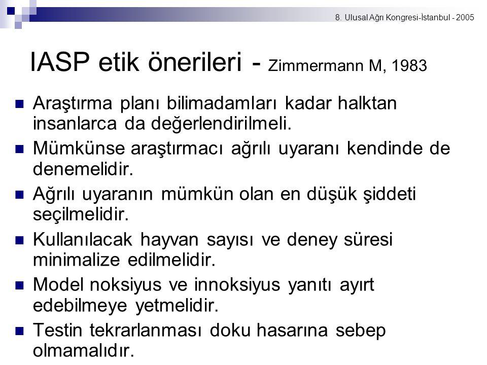 IASP etik önerileri - Zimmermann M, 1983