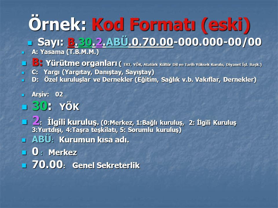 Örnek: Kod Formatı (eski)
