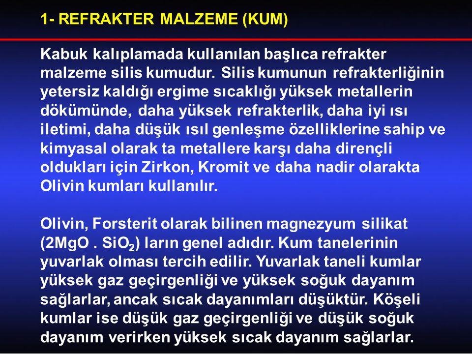 1- REFRAKTER MALZEME (KUM) Kabuk kalıplamada kullanılan başlıca refrakter malzeme silis kumudur.