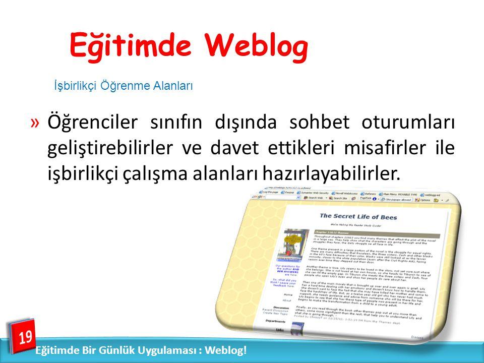 Eğitimde Weblog İşbirlikçi Öğrenme Alanları.