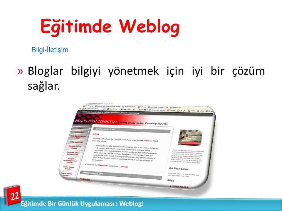 Eğitimde Weblog Bloglar bilgiyi yönetmek için iyi bir çözüm sağlar. 22