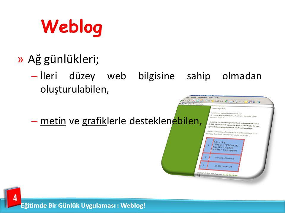 Weblog Ağ günlükleri; İleri düzey web bilgisine sahip olmadan oluşturulabilen, metin ve grafiklerle desteklenebilen,