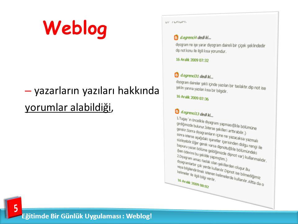Weblog yazarların yazıları hakkında yorumlar alabildiği, 5
