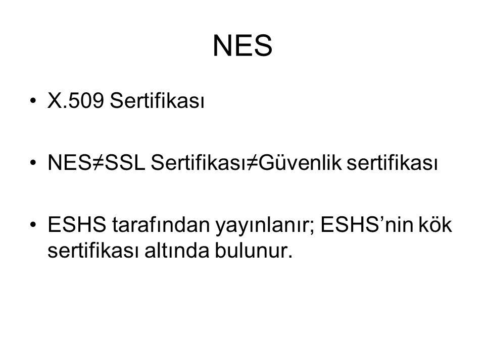 NES X.509 Sertifikası NES≠SSL Sertifikası≠Güvenlik sertifikası