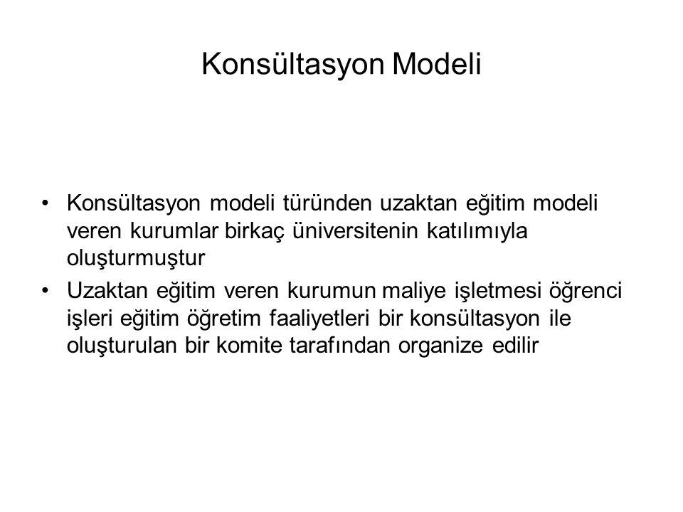 Konsültasyon Modeli Konsültasyon modeli türünden uzaktan eğitim modeli veren kurumlar birkaç üniversitenin katılımıyla oluşturmuştur.