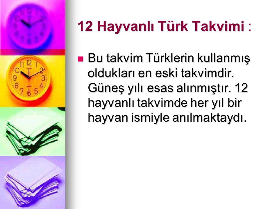 12 Hayvanlı Türk Takvimi :