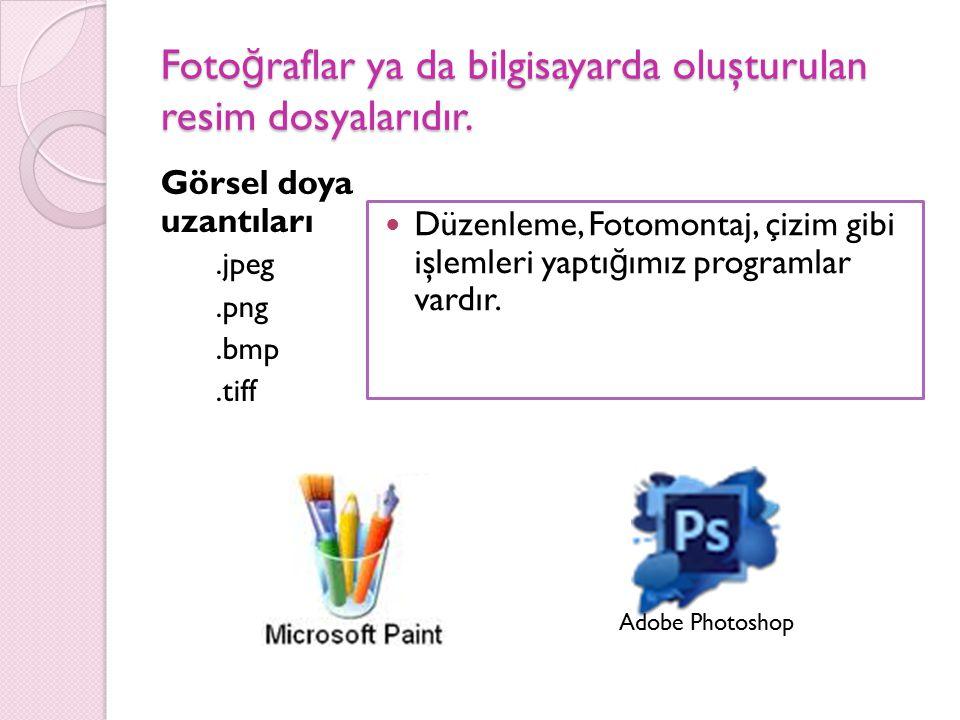 Fotoğraflar ya da bilgisayarda oluşturulan resim dosyalarıdır.