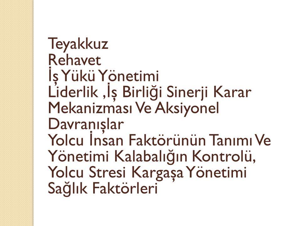 Teyakkuz Rehavet. İş Yükü Yönetimi. Liderlik ,İş Birliği Sinerji Karar Mekanizması Ve Aksiyonel Davranışlar.