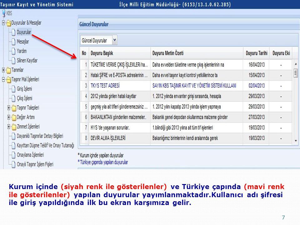 Kurum içinde (siyah renk ile gösterilenler) ve Türkiye çapında (mavi renk ile gösterilenler) yapılan duyurular yayımlanmaktadır.Kullanıcı adı şifresi ile giriş yapıldığında ilk bu ekran karşımıza gelir.