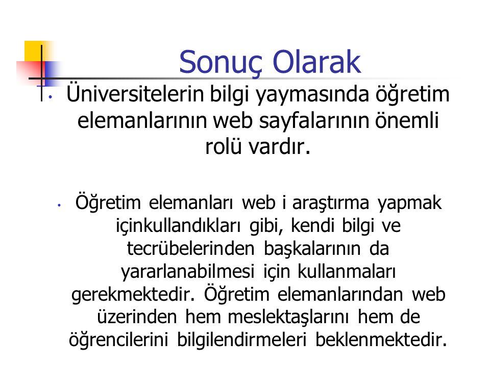 Sonuç Olarak Üniversitelerin bilgi yaymasında öğretim elemanlarının web sayfalarının önemli rolü vardır.
