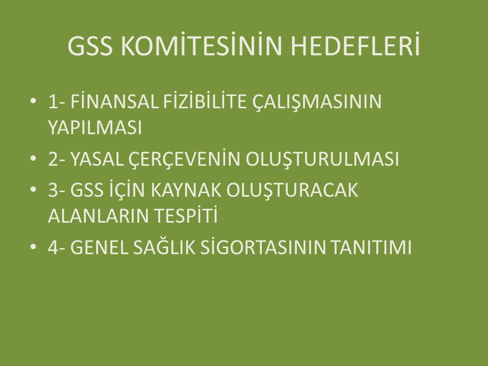 GSS KOMİTESİNİN HEDEFLERİ