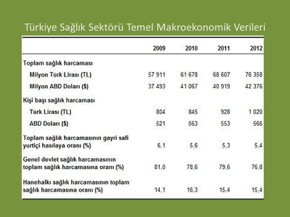 Türkiye Sağlık Sektörü Temel Makroekonomik Verileri