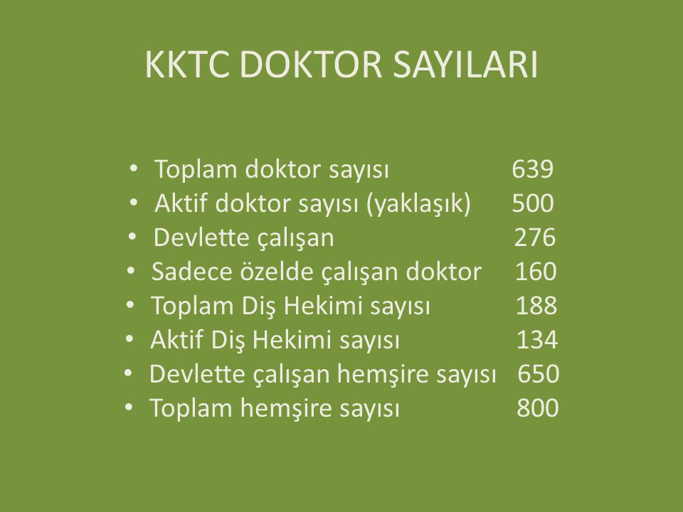 KKTC DOKTOR SAYILARI Toplam doktor sayısı 639