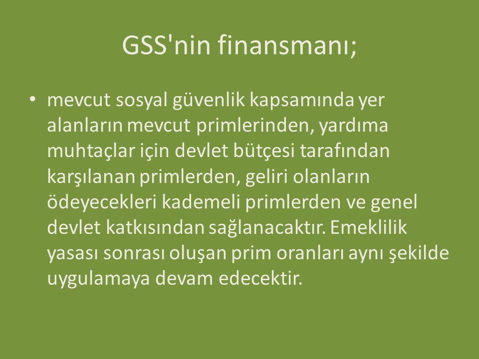 GSS nin finansmanı;