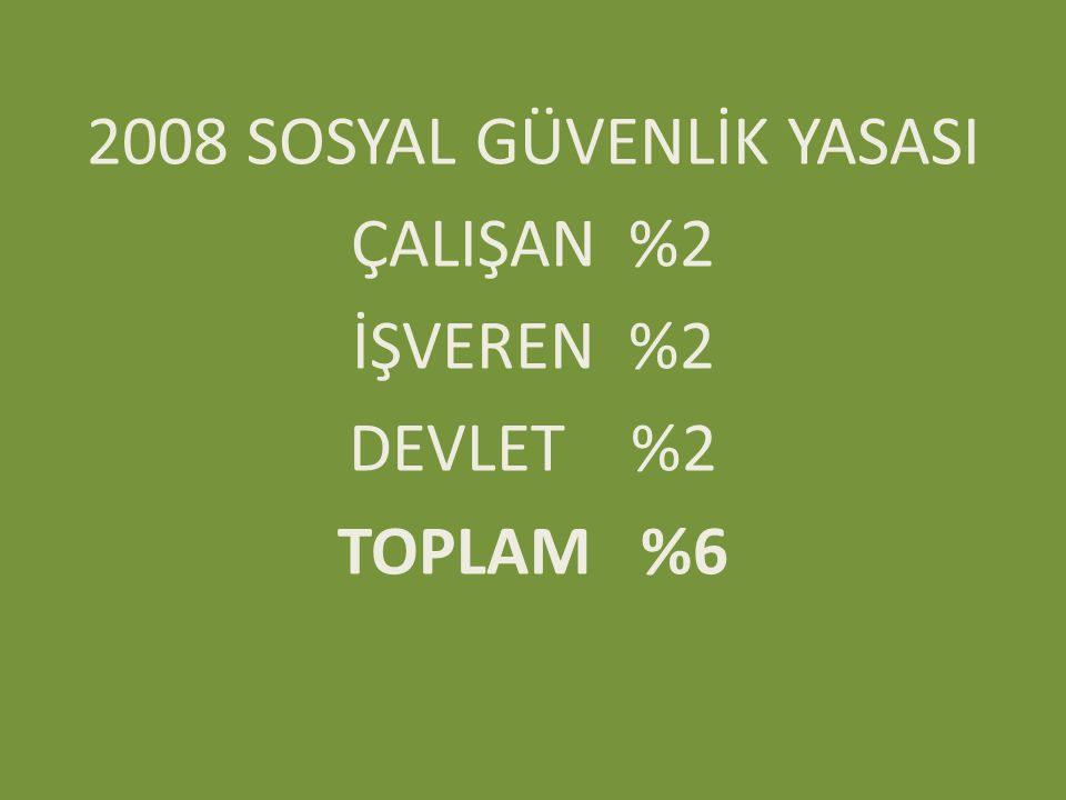 2008 SOSYAL GÜVENLİK YASASI ÇALIŞAN %2 İŞVEREN %2 DEVLET %2 TOPLAM %6