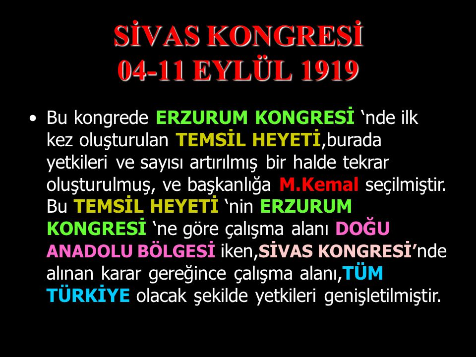 SİVAS KONGRESİ 04-11 EYLÜL 1919