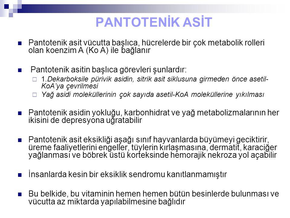 PANTOTENİK ASİT Pantotenik asit vücutta başlıca, hücrelerde bir çok metabolik rolleri olan koenzim A (Ko A) ile bağlanır.