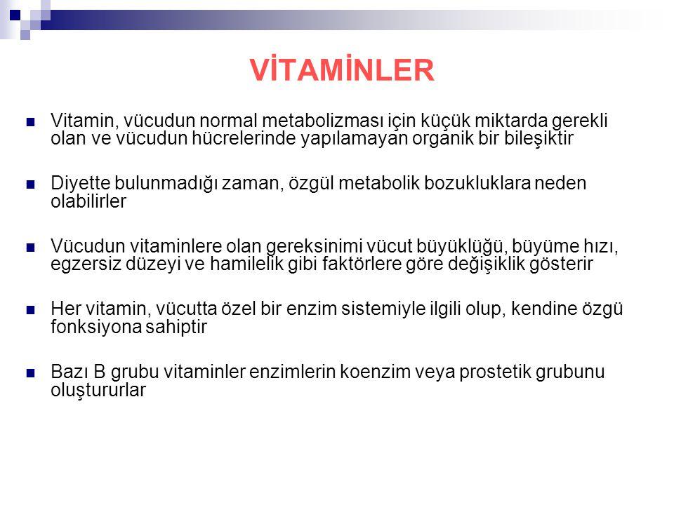 VİTAMİNLER Vitamin, vücudun normal metabolizması için küçük miktarda gerekli olan ve vücudun hücrelerinde yapılamayan organik bir bileşiktir.