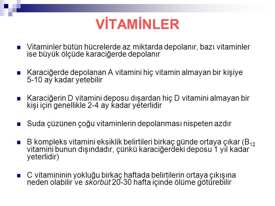 VİTAMİNLER Vitaminler bütün hücrelerde az miktarda depolanır, bazı vitaminler ise büyük ölçüde karaciğerde depolanır.