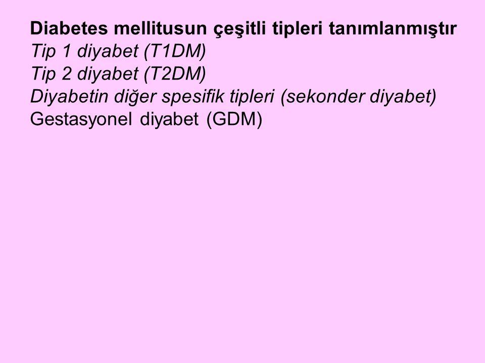 Diabetes mellitusun çeşitli tipleri tanımlanmıştır