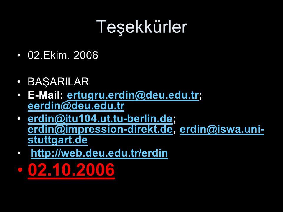 Teşekkürler 02.10.2006 02.Ekim. 2006 BAŞARILAR