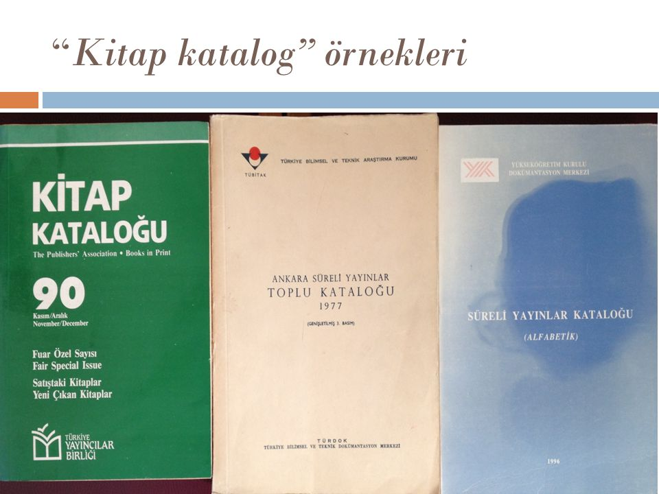 Kitap katalog örnekleri