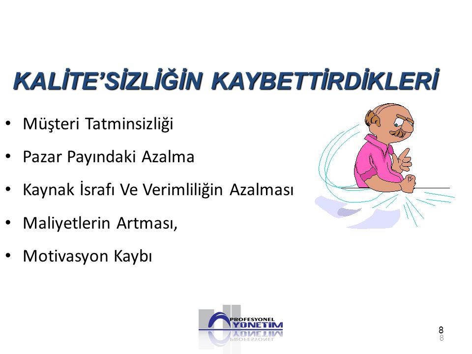 KALİTE'SİZLİĞİN KAYBETTİRDİKLERİ