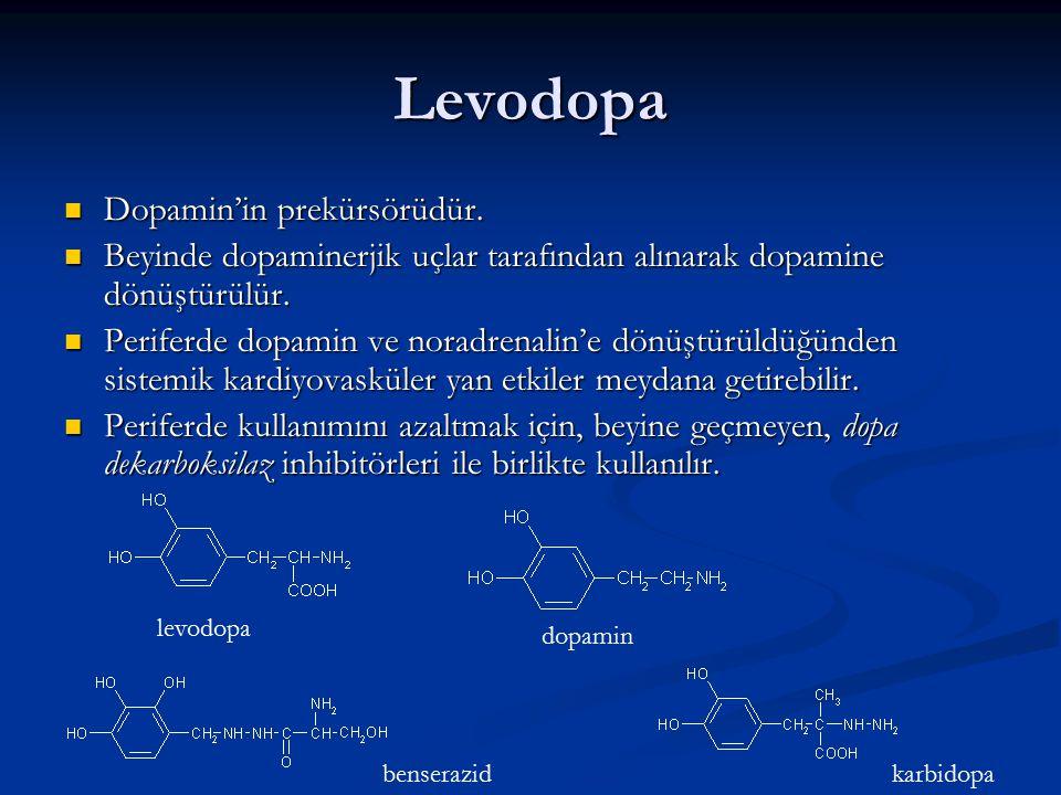 Levodopa Dopamin'in prekürsörüdür.