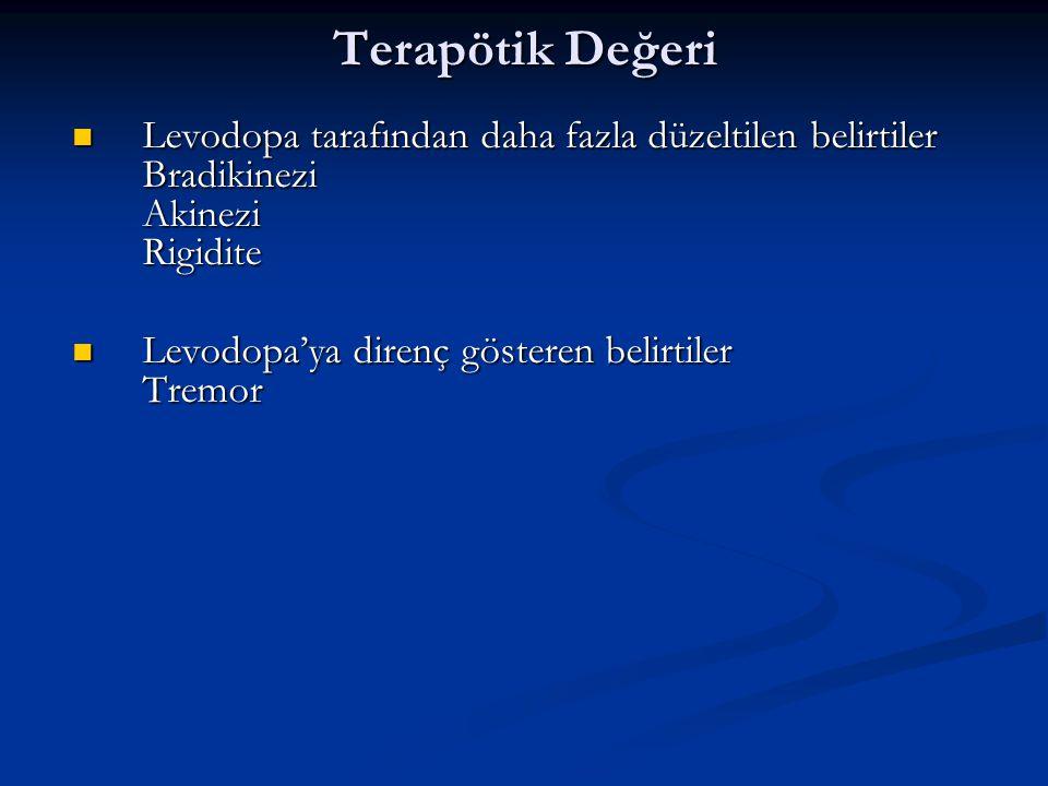 Terapötik Değeri Levodopa tarafından daha fazla düzeltilen belirtiler Bradikinezi Akinezi Rigidite.