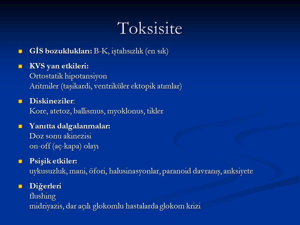 Toksisite GİS bozuklukları: B-K, iştahsızlık (en sık)