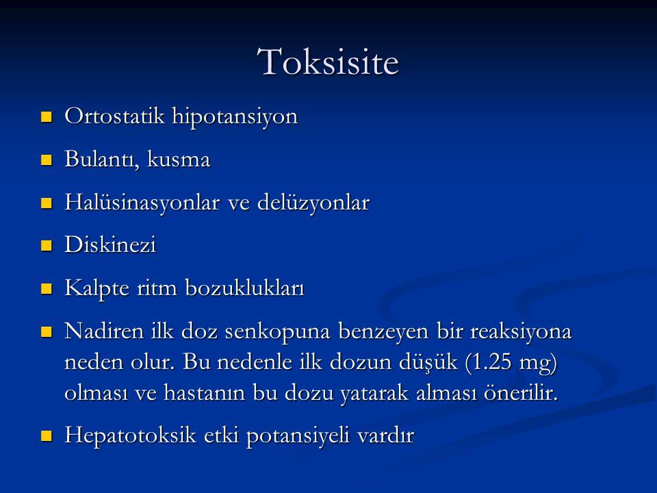 Toksisite Ortostatik hipotansiyon Bulantı, kusma