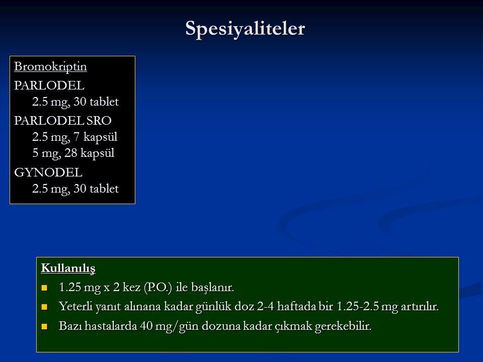 Spesiyaliteler Bromokriptin PARLODEL 2.5 mg, 30 tablet
