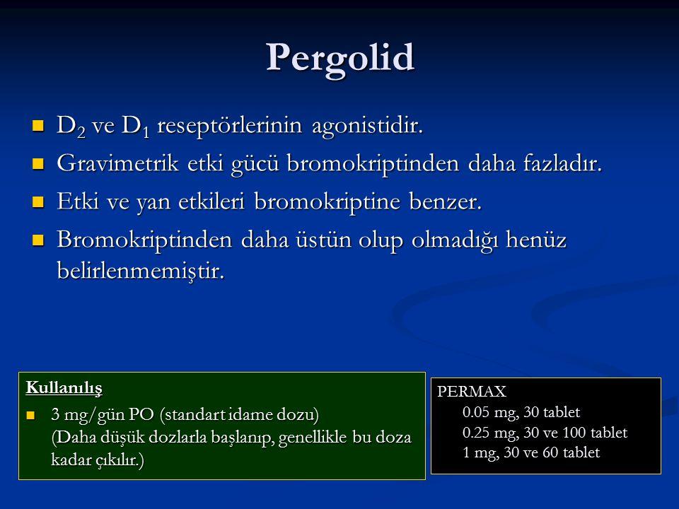 Pergolid D2 ve D1 reseptörlerinin agonistidir.