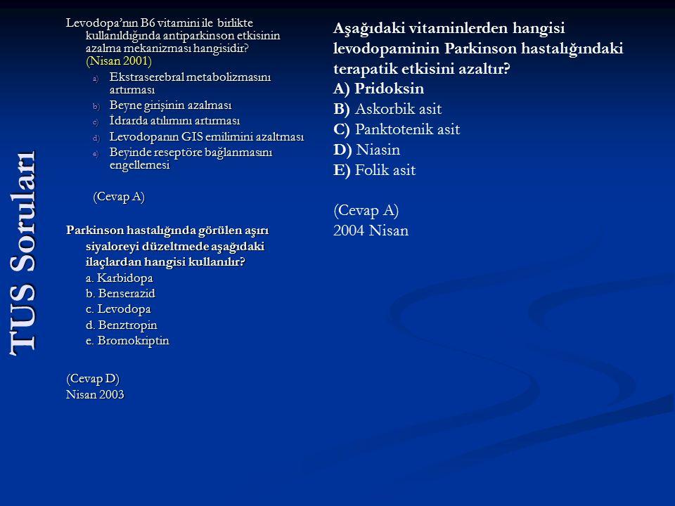 Levodopa'nın B6 vitamini ile birlikte kullanıldığında antiparkinson etkisinin azalma mekanizması hangisidir (Nisan 2001)