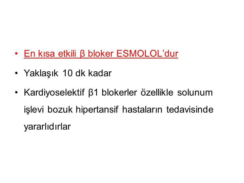 En kısa etkili β bloker ESMOLOL'dur