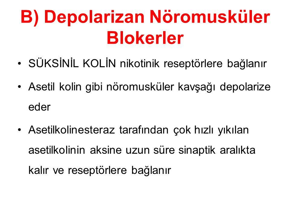 B) Depolarizan Nöromusküler Blokerler