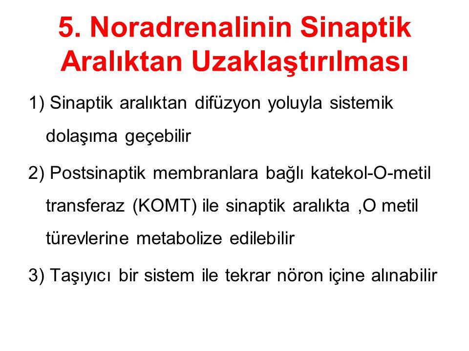 5. Noradrenalinin Sinaptik Aralıktan Uzaklaştırılması