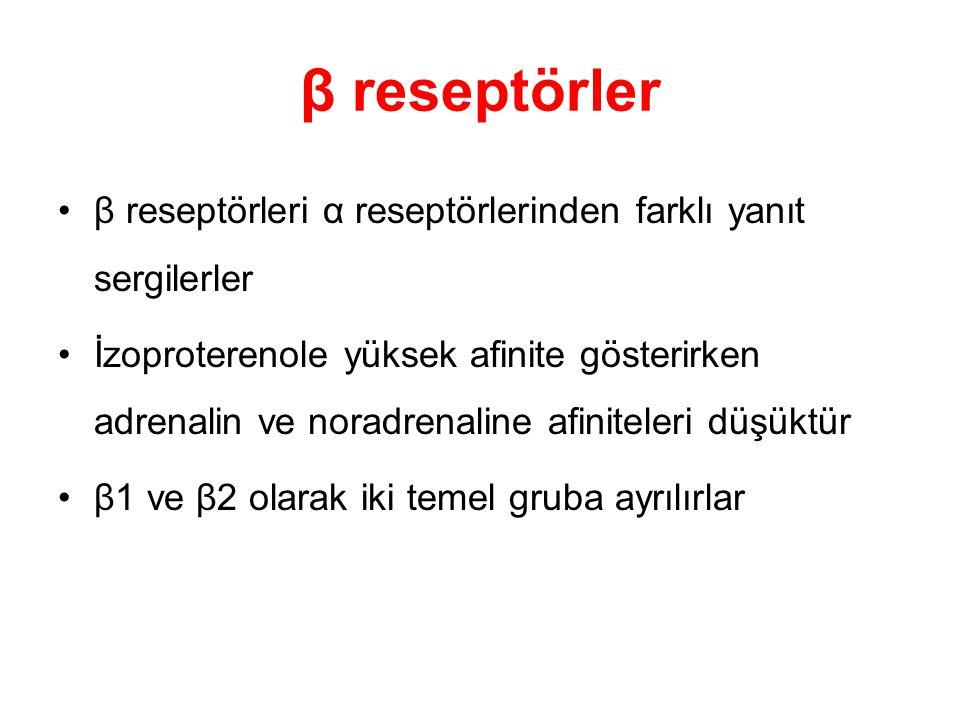 β reseptörler β reseptörleri α reseptörlerinden farklı yanıt sergilerler.