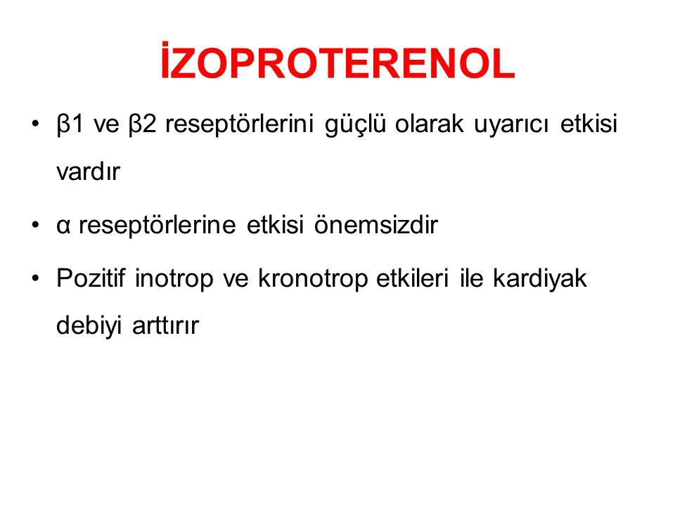İZOPROTERENOL β1 ve β2 reseptörlerini güçlü olarak uyarıcı etkisi vardır. α reseptörlerine etkisi önemsizdir.