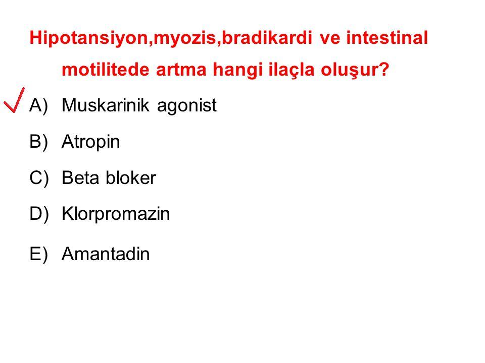 Hipotansiyon,myozis,bradikardi ve intestinal motilitede artma hangi ilaçla oluşur