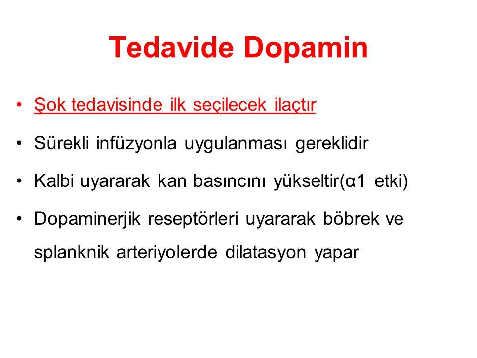 Tedavide Dopamin Şok tedavisinde ilk seçilecek ilaçtır
