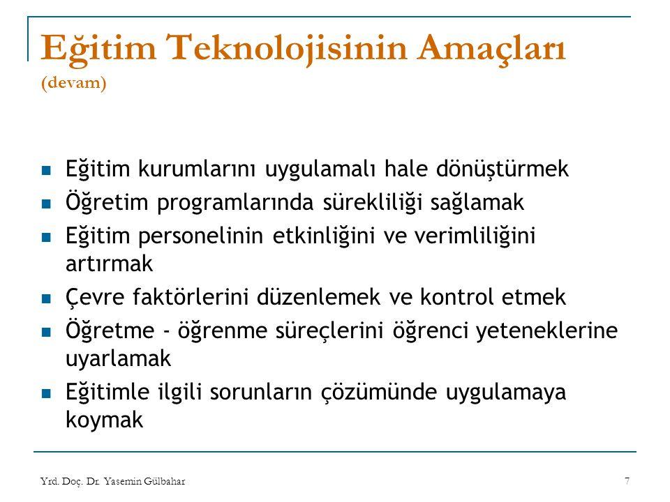 Eğitim Teknolojisinin Amaçları (devam)